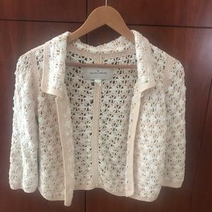 fabulous hand knit cardigan pale pink and cream